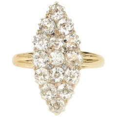Victorian 2.63 Carat Marquise Navette Diamond Ring 18 Karat Gold, circa 1880