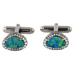 2.63 Carat Opal Diamond Cufflinks