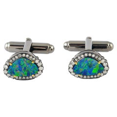 2.63 Carat Opal Diamond Cufflinks