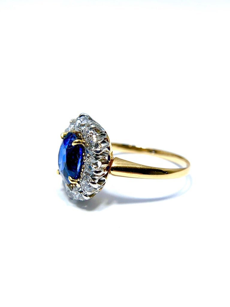 Retro 2.63 Carat Oval No Heat Natural Sapphire and Diamond Platinum and Yellow Gold For Sale