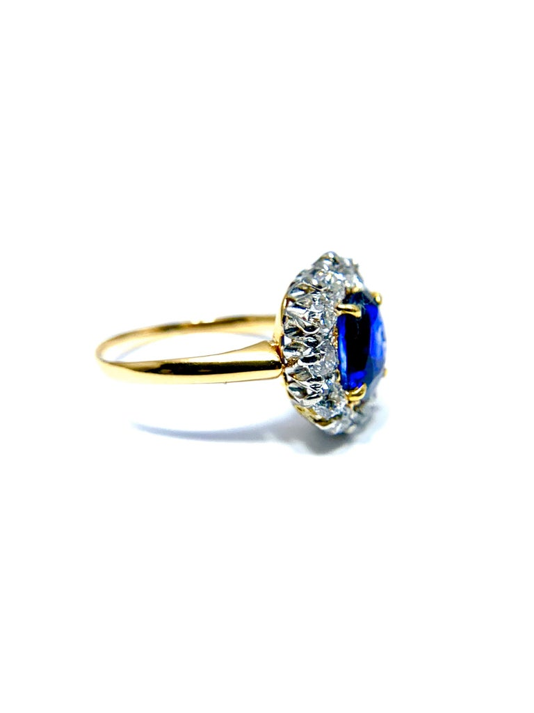 Oval Cut 2.63 Carat Oval No Heat Natural Sapphire and Diamond Platinum and Yellow Gold For Sale