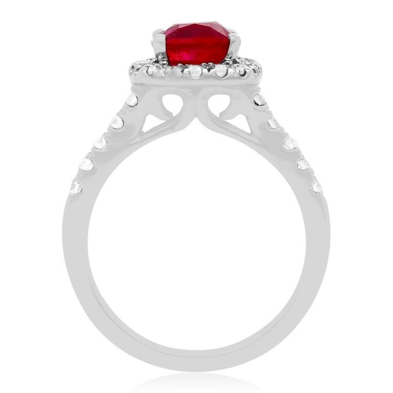 Contemporary 2.63 Carat Cushion Ruby and Round Diamond Halo Engagement Ring 14K White Gold For Sale