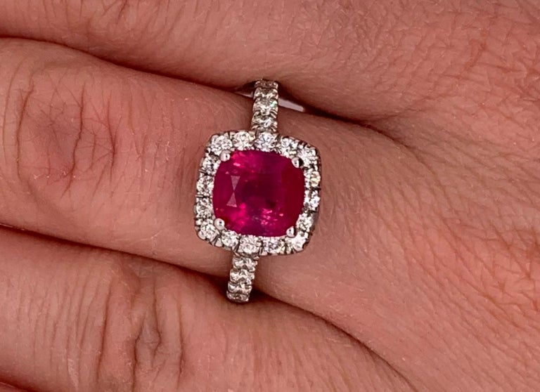 Cushion Cut 2.63 Carat Cushion Ruby and Round Diamond Halo Engagement Ring 14K White Gold For Sale