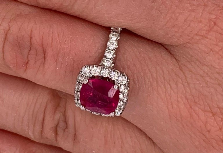 2.63 Carat Cushion Ruby and Round Diamond Halo Engagement Ring 14K White Gold In New Condition For Sale In GREAT NECK, NY