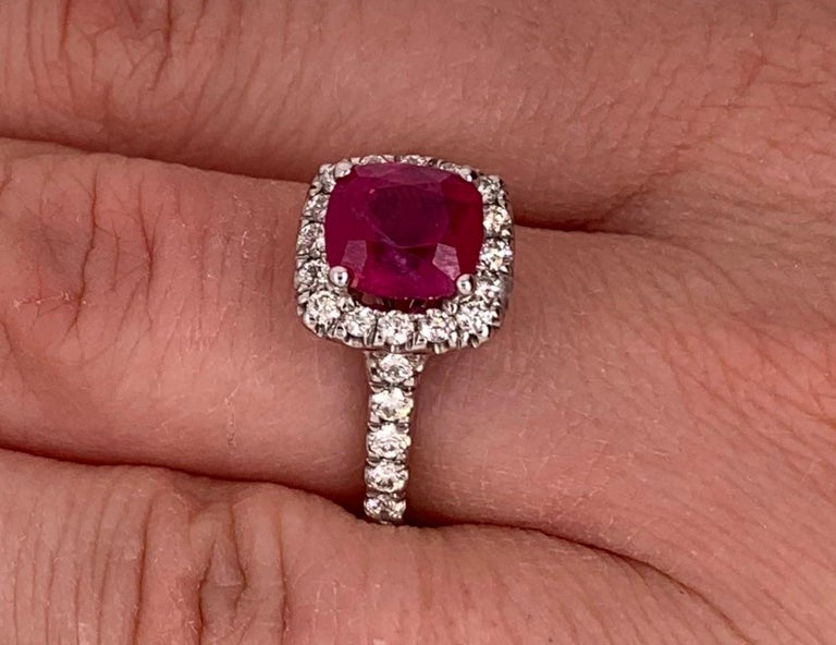 Women's 2.63 Carat Cushion Ruby and Round Diamond Halo Engagement Ring 14K White Gold For Sale
