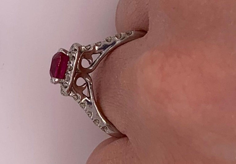 2.63 Carat Cushion Ruby and Round Diamond Halo Engagement Ring 14K White Gold For Sale 1