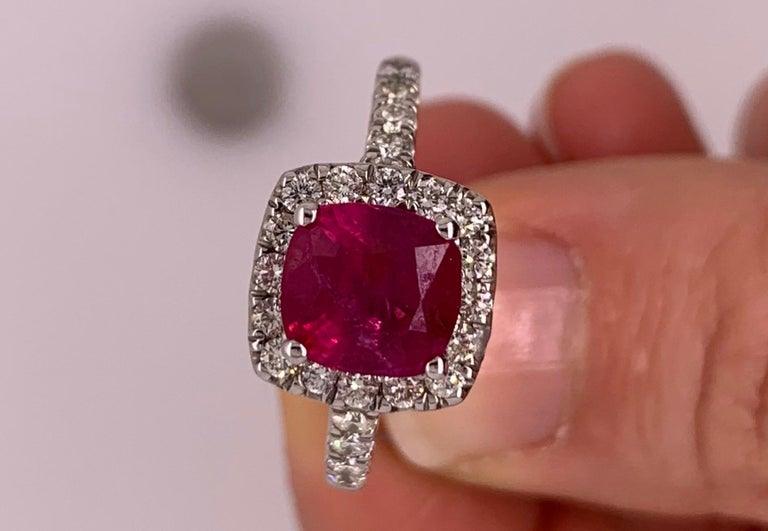 2.63 Carat Cushion Ruby and Round Diamond Halo Engagement Ring 14K White Gold For Sale 2