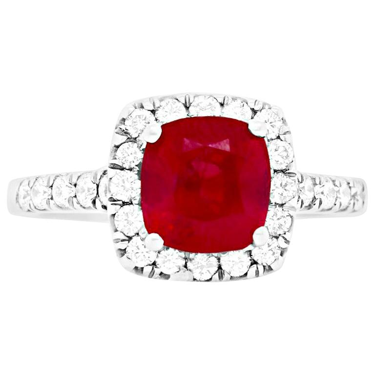 2.63 Carat Cushion Ruby and Round Diamond Halo Engagement Ring 14K White Gold For Sale