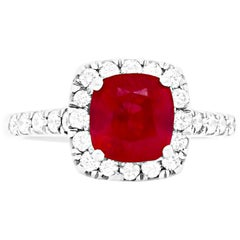 2.63 Carat Ruby and Diamond Engagement Ring