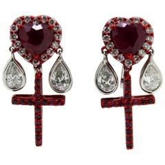 2.63 Carat Ruby and White Diamonds Red E-Coated Dangling Clip Earrings
