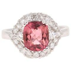 2.63 Carat Tourmaline Diamond 18 Karat White Gold Bridal Ring