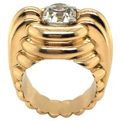 2.63 Carats Cushion-Shape Diamond and 18 Karat Rose Gold French Ring, 1940s
