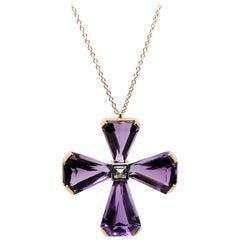 26.30 Carat Amethyst Cross and Diamond Cross Handmade Pendant Necklace