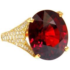 26.31ct GIA Natural Red Spessartite Garnet Diamonds Raised Crown Ring 18KT