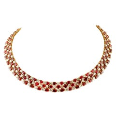 26.33 Carat Diamonds, 75.05 Carat Rubies 18 Karat Yellow Gold Marvelous Collier