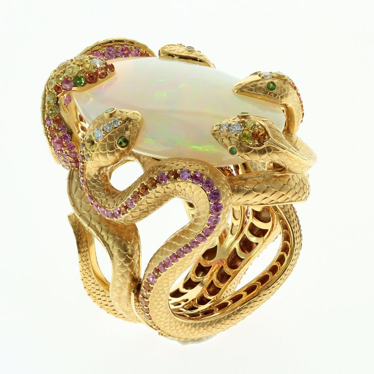 26.33 Carat Opal, 18 Karat Yellow Gold Snake Ring In New Condition For Sale In Bangkok, TH