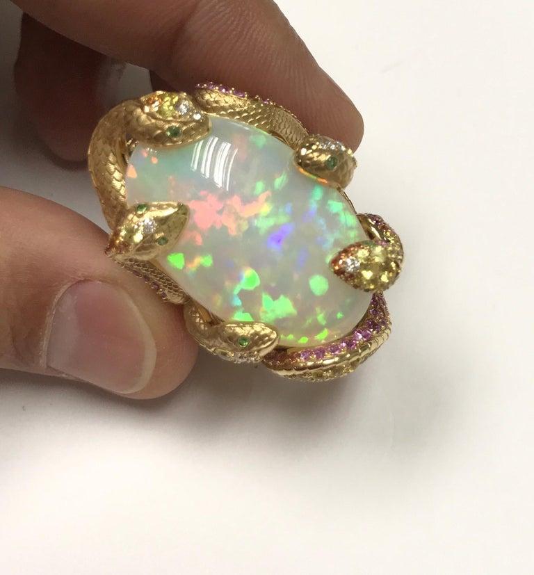 Women's or Men's 26.33 Carat Opal, 18 Karat Yellow Gold Snake Ring For Sale