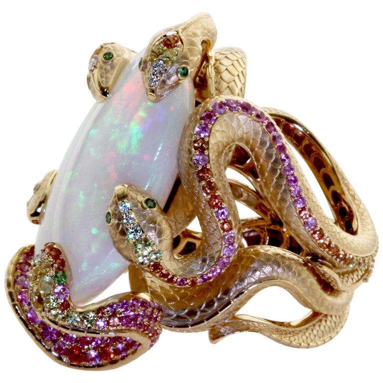 26.33 Carat Opal, 18 Karat Yellow Gold Snake Ring For Sale