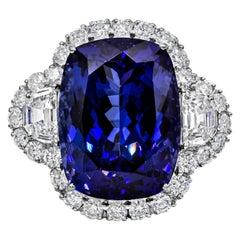 Roman Malakov 26.35 Carat Tanzanite and Diamond Three-Stone Halo Cocktail Ring