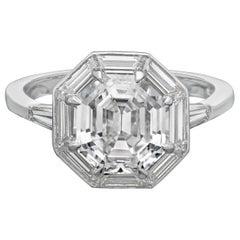 Hancocks 2.63carat Octagonal Step-Cut Diamond Ring with Baguette Diamond