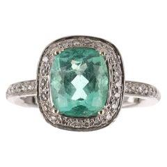 2.63tcw 14K Cushion Emerald & Diamond Halo Engagement Ring