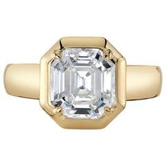 2.64 Carat Asscher Cut Diamond Set in a Handcrafted 18 Karat Yellow Gold Ring