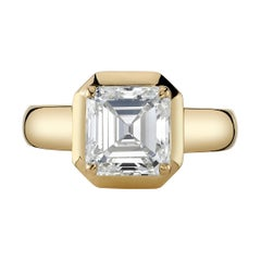 2.64 Carat Asscher Cut Diamond Set in a Handcrafted 18 Karat Yellow Gold Ring