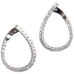 2.64 Carat Diamond Hoop Swirl Earrings in 18 Karat White Gold