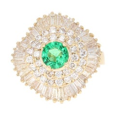 2.64 Carat Emerald Diamond 14 Karat Yellow Gold Ballerina Ring