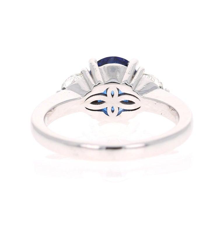Oval Cut 2.64 Carat GIA Certified Sapphire Diamond 18 Karat White Gold Three-Stone Ring For Sale