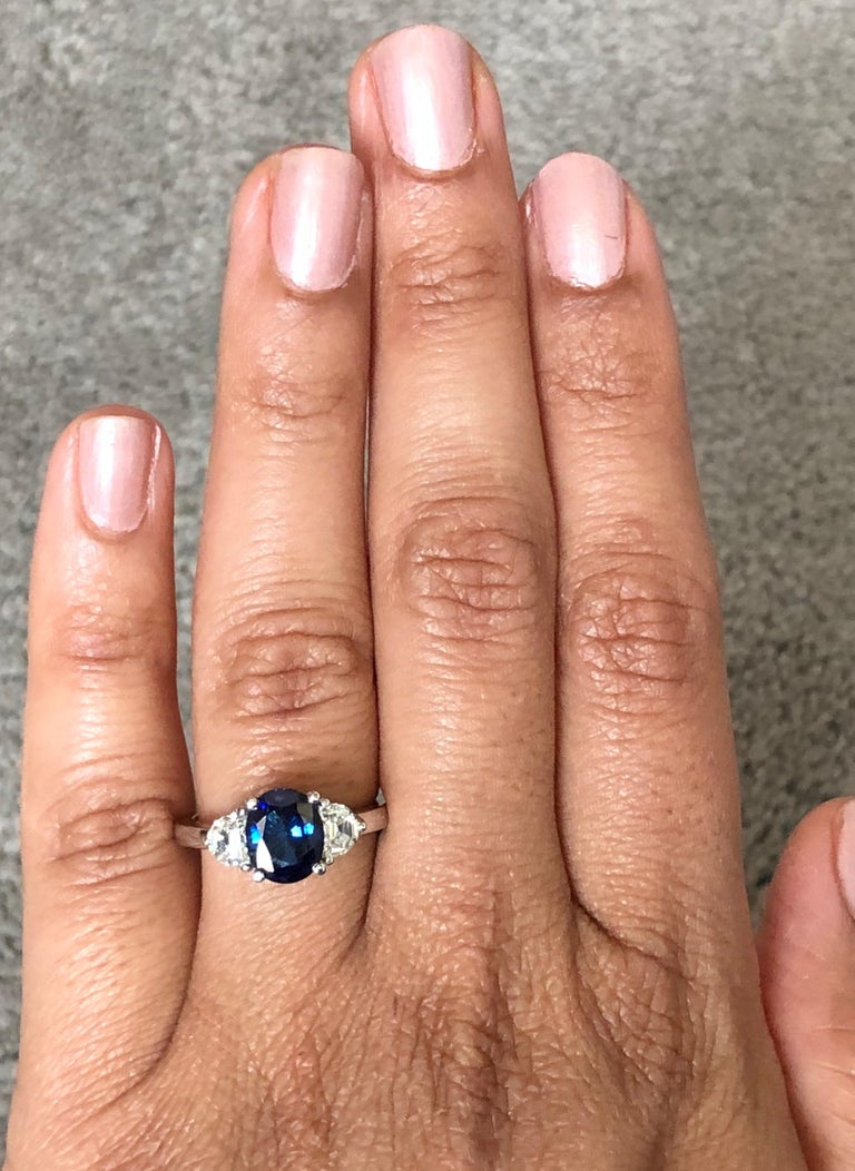 2.64 Carat GIA Certified Sapphire Diamond 18 Karat White Gold Three-Stone Ring In New Condition For Sale In Los Angeles, CA