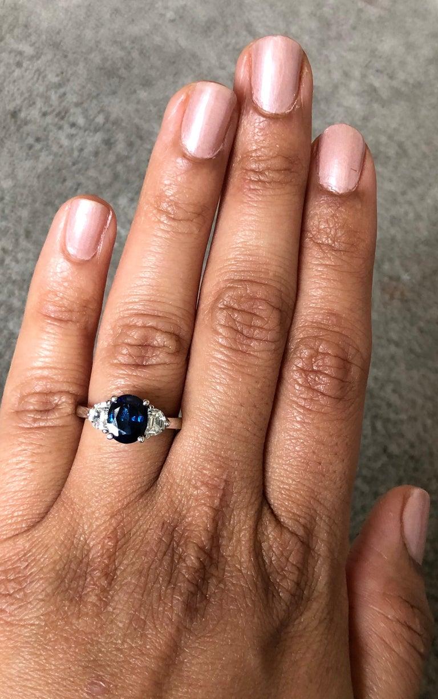 Women's 2.64 Carat GIA Certified Sapphire Diamond 18 Karat White Gold Three-Stone Ring For Sale