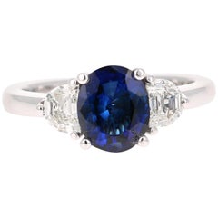 2.64 Carat GIA Certified Sapphire Diamond 18 Karat White Gold Three-Stone Ring