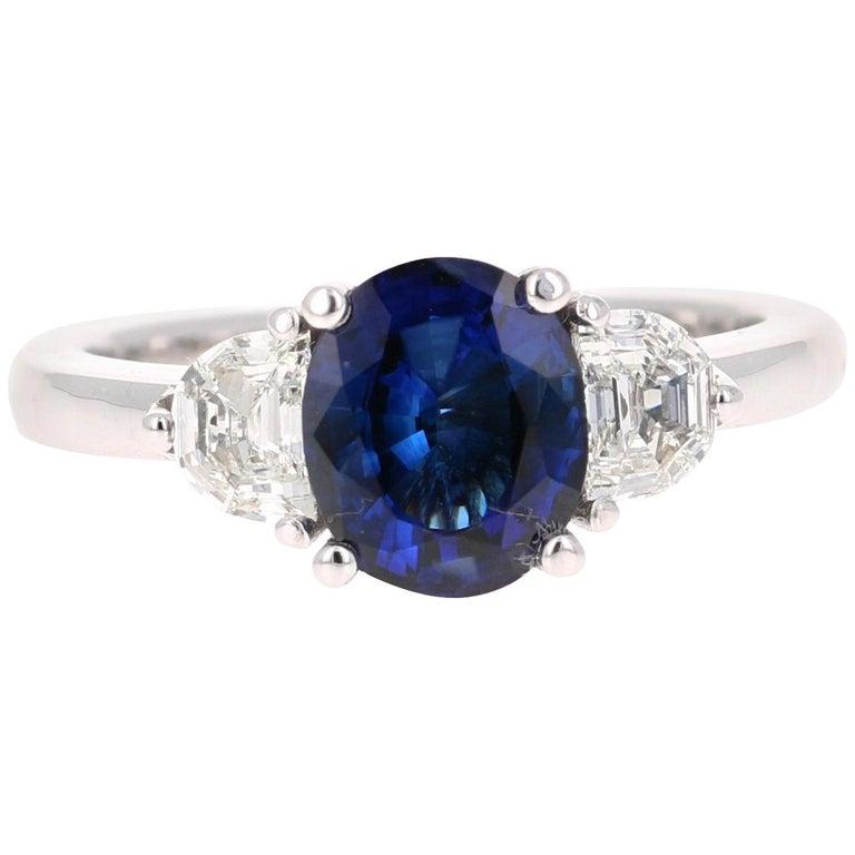 2.64 Carat GIA Certified Sapphire Diamond 18 Karat White Gold Three-Stone Ring For Sale