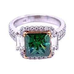 2.64 Carat Green PC Diamond in Pave Set 18 Karat Double Shank Ring with Halo