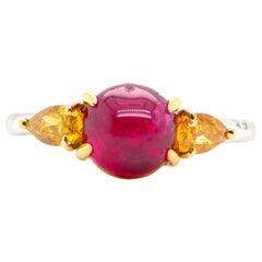 2.64 Carat GRS Certified Unheated Burmese Vivid Red Ruby and Orange Diamond Ring