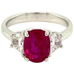 2.64 Carat Gubelin/GRS Certified Burmese Ruby and White Diamond Engagement Ring