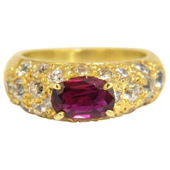 2.64 Carat Natural Oval Vivid Purple Red Ruby Diamonds Ring 18 Karat