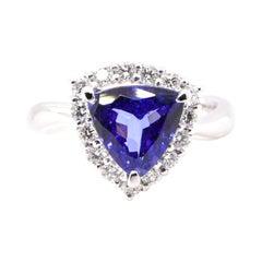 2.64 Carat, Natural, Trillion-Cut Tanzanite and Diamond Ring Set in Platinum