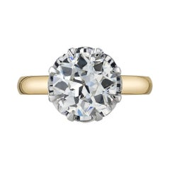 2.64 Carat Old European Cut Diamond Set in a Yellow Gold and Platinum Ring