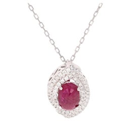 2.64 Carat Ruby and Diamond 14 Karat White Gold Chain Necklace