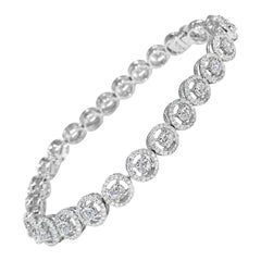 2.64 Carats Tennis Halo Rose Cut and Round Brilliant Cut Diamond Bracelet