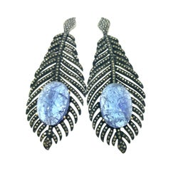 26.40 Carat Feather Tanzanite Diamond Earring Oxidized Sterling Silver