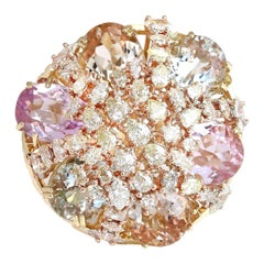 26.40 Carat Morganite Aquamarine Kunzite 18 Karat Gold Diamond Ring