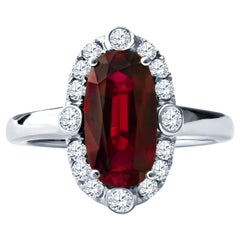 2.64ct GIA Certified Cushion Ruby with 0.40ct in Round Brilliant Diamonds Ring