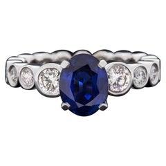 2.64Ct Oval Royal Blue Sapphire 2Ct Diamonds Eternity Bezel Engagement Ring