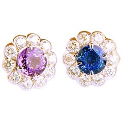 2.64ct Sapphire and 1.13ct Diamond Flower Shaped in 18 Carat White Gold Earrings