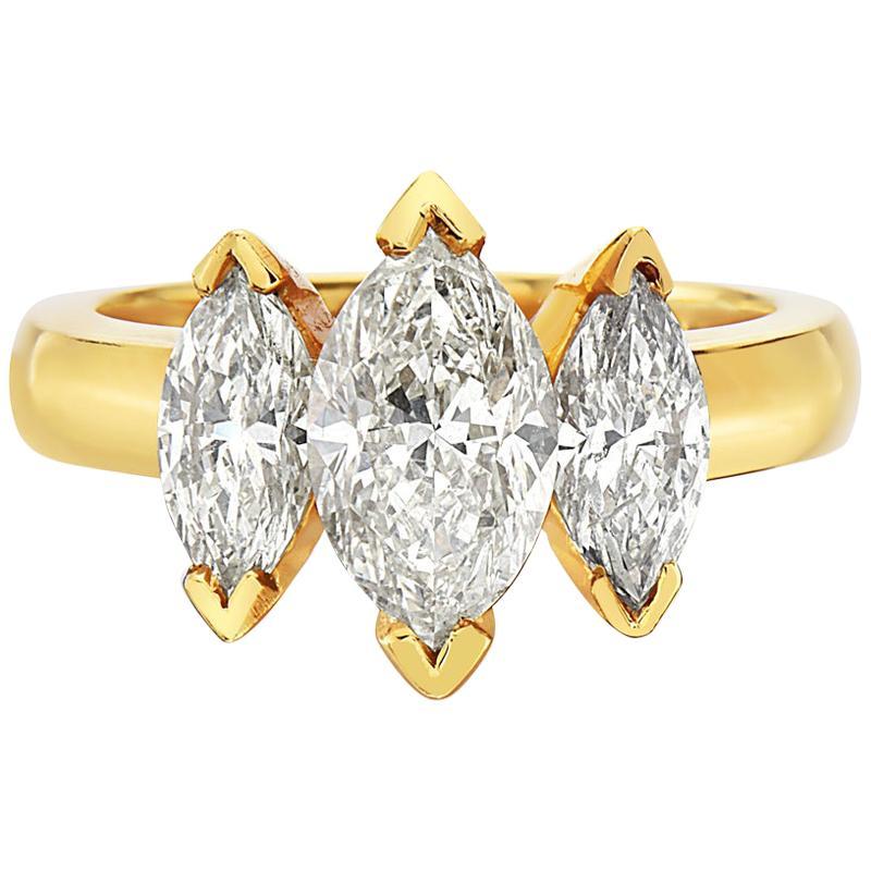 2.65 Carat 18 Karat Yellow Gold Marquise Cut Trilogy Engagement Ring