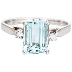 2.65 Carat Aquamarine Diamond Ring Vintage 14 Karat White Gold Gemstone