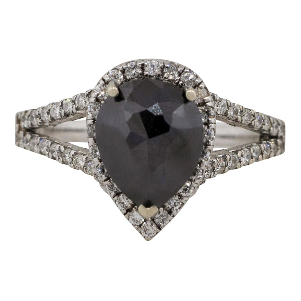 2.65 Carat Black and White Diamond Pear Shape Ring 14 Karat in Stock